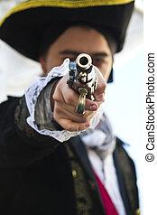 pointing a gun