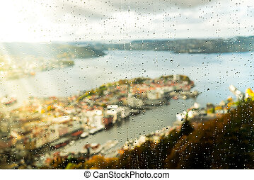 View of a rainy Bergen, Norway