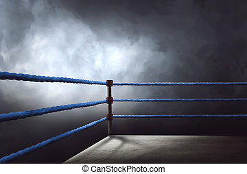 View of a regular boxing ring surrounded by blue ropes...