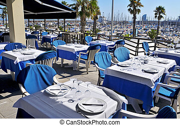 restaurant terrace in Barcelona, Spain - view of a ...