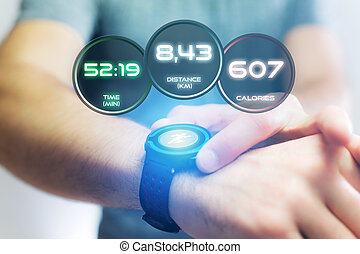 Running interface on a sport smartwatch with data ...