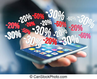 Sales promotion 20% 30% and 50% flying over an interface - ...