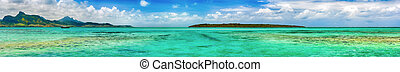 View of a sea at day time. Mauritius. Panorama - View of a...