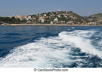 View of a sea landscape from a boat
