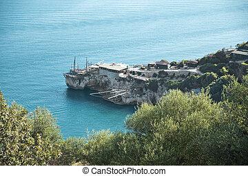 View of a sea trebuchet in Apulia, Italy