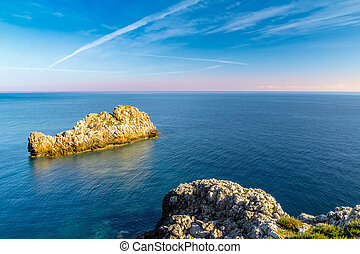 View of a seascape from the lighthouse of Capo Zafferano in...