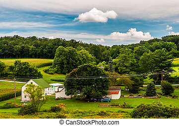 View of a small farm in rural York County, Pennsylvania.