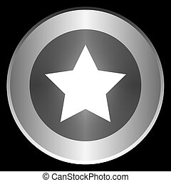 Star icon on a circle isolated on a black background