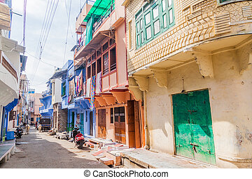 View of a street in Chittorgarh, Rajasthan state, Ind