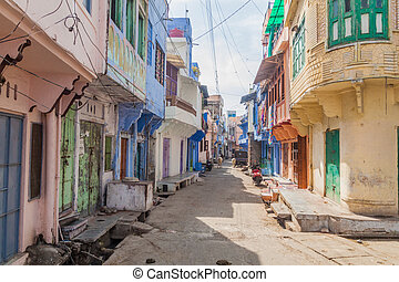 View of a stret in Chittorgarh, Rajasthan state, Ind