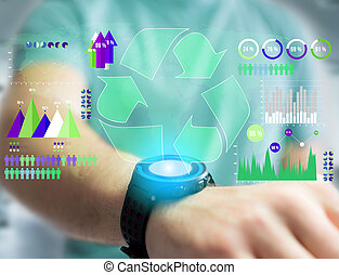 Technology ecologic interface with world map on the background - Ecology concept