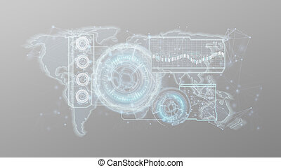 Technology interface isolated on a background 3d rendering