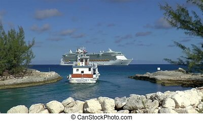 View of a tender returning to the Freedom of the Seas Cruise Ship.