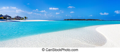 tropical beach on a turquoise water lagoon in the Maldives