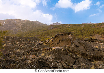 View of a unique valley on the Etna volcano