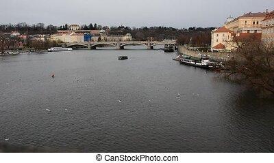 View of a Vltava river in Prague city