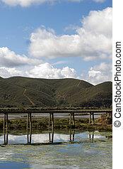 water transportation pipe bridge on Portimao region, Portugal