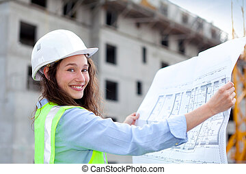 Woman worker on a construction site