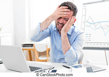 Young attractive business feeling pain because of burn out -...