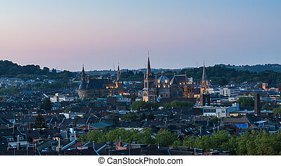 view of Aachen at dusk