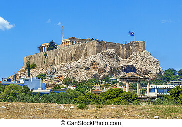 The Acropolis of Athens is an ancient citadel located on a high rocky outcrop above the city of Athens, Greec