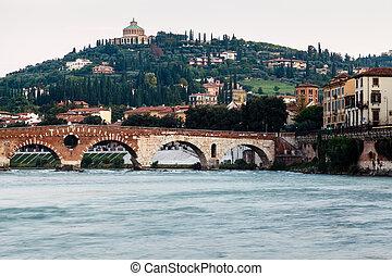 View of Adige River and Saint Peter Bridge in Verona, Veneto...