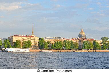 View of Admiralteiskaya Embankment and the River Neva.