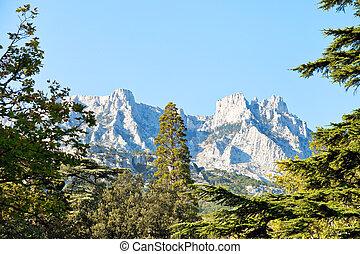 view of Ai-Petri mountain from Alupka, Crimea - view of...