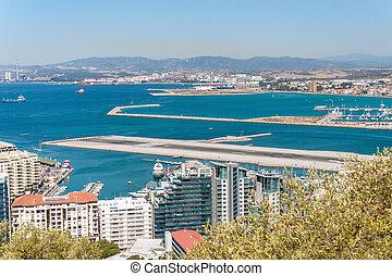 View of airport runway in Gibraltar