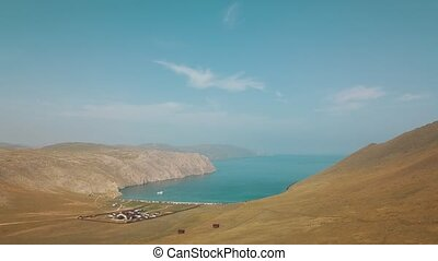 View of Aja valley view Baikal lake Siberia from air drone