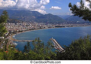 View of Alanya from the fortress on the mountain. Mediterranean Sea. Alanya Antalya Region. Turkey