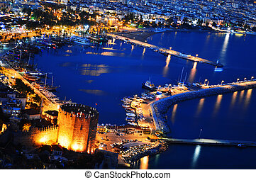 View of Alanya harbor form Alanya peninsula. Turkish Riviera