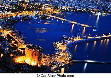 View of Alanya harbor form Alanya peninsula. Turkish Riviera...