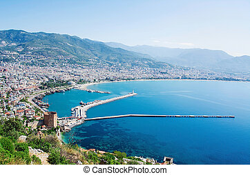 View of Alanya harbor. Turkish Riviera