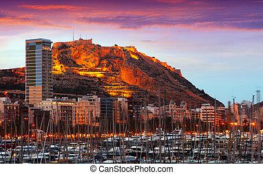 View of Alicante in sunrise