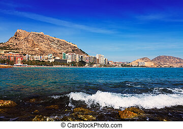 View of Alicante with Castle of Santa Barbara from Mediterranean