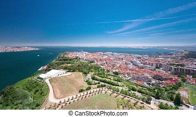 View of Almada city near Lisbon - Portugal timelapse