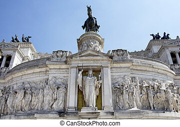 View of Altar of the Fatherland in Piazza Venezia in Rome. Grand marble, classical temple honoring Italy's first king & First World War soldiers.