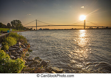 View of Ambassador Bridge connecting Windsor, Ontario to...