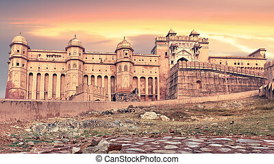 View of Amber fort, Jaipur, India - View of Amber fort at...
