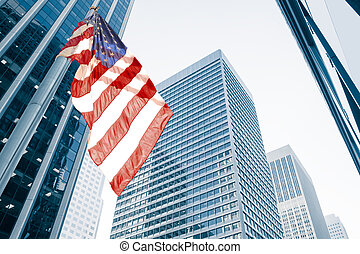 flag - View of American flag on blue building background
