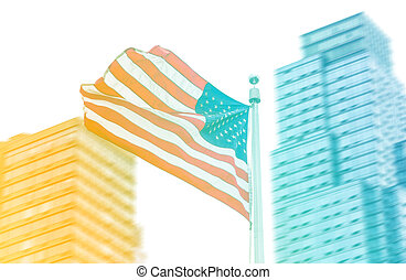 American flag on blurred building background