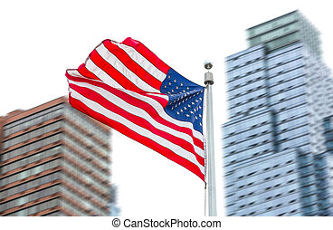 American flag on blurred building background - View of...