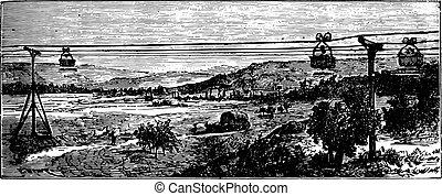 View of an aerial railway, vintage engraving.