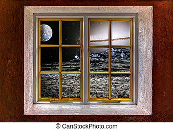 View of an alien landscape with supernova through a window