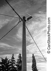 electric pole with street light