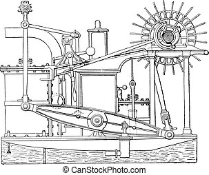 View of an old beam engine, vintage engraving.