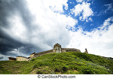 View of an old castle on top of the hill