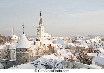 View of an old city in Tallinn. Estonia