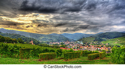 View of Andlau village in Vosges mountains - Alsace, France